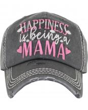 KBV1384(BK)-wholesale-baseball-cap-happiness-is-being-a-mama-embroidered-vintage-cotton-velcro-adjustable(0).jpg