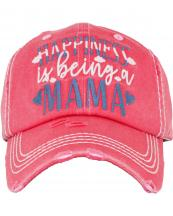 KBV1384(HPK)-wholesale-baseball-cap-happiness-is-being-a-mama-embroidered-vintage-cotton-velcro-adjustable(0).jpg
