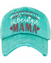 KBV1384(TQ)-wholesale-baseball-cap-happiness-is-being-a-mama-embroidered-vintage-cotton-velcro-adjustable(0).jpg